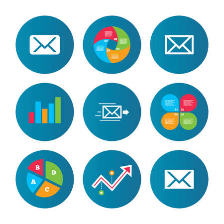webmail: Business pie chart. Growth curve. Presentation buttons. Mail envelope icons. Message delivery symbol. Post office letter signs. Data analysis. Vector Illustration