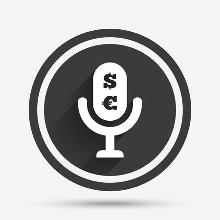 usr: Microphone icon. Speaker symbol. Paid music sign. Circle flat button with shadow and border. Vector