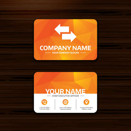 outgoing: Business or visiting card template. Incoming and outgoing calls sign. Upload. Download arrow symbol. Phone, globe and pointer icons. Vector Illustration