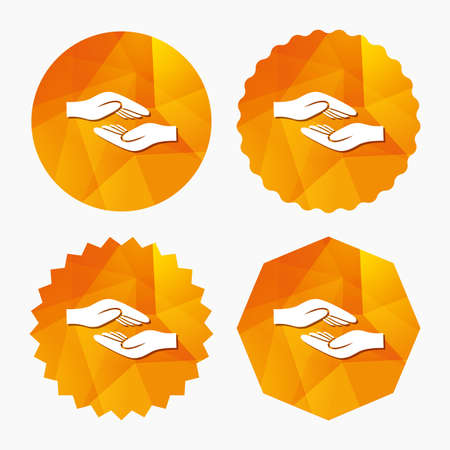 endowment: Helping hands sign icon. Charity or endowment symbol. Human palm. Triangular low poly buttons with flat icon. Vector Illustration