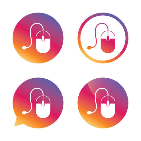 scrolling: Computer mouse sign icon. Optical with wheel symbol. Gradient buttons with flat icon. Speech bubble sign. Vector