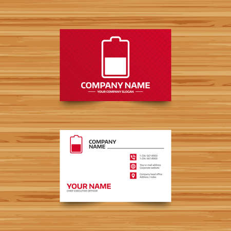 half globe: Business card template. Battery half level sign icon. Low electricity symbol. Phone, globe and pointer icons. Visiting card design. Vector