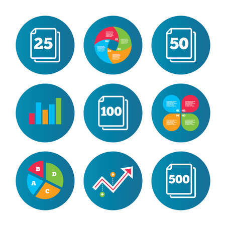 units: Business pie chart. Growth curve. Presentation buttons. In pack sheets icons. Quantity per package symbols. 25, 50, 100 and 500 paper units in the pack signs. Data analysis. Vector Illustration