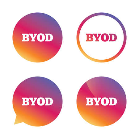 bring: BYOD sign icon. Bring your own device symbol. Gradient buttons with flat icon. Speech bubble sign. Vector