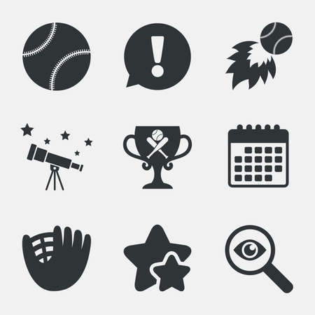 crosswise: Baseball sport icons. Ball with glove and two crosswise bats signs. Fireball with award cup symbol. Attention, investigate and stars icons. Telescope and calendar signs. Vector Illustration