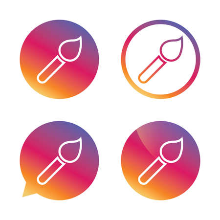 Paint brush sign icon. Artist symbol. Gradient buttons with flat icon. Speech bubble sign. Vector