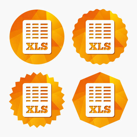 xls: Excel file document icon. Download xls button. XLS file symbol. Triangular low poly buttons with flat icon. Vector