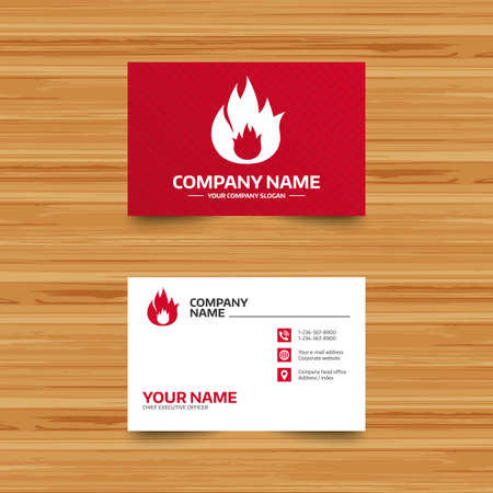 fire escape: Business card template. Fire flame sign icon. Fire symbol. Stop fire. Escape from fire. Phone, globe and pointer icons. Visiting card design. Vector