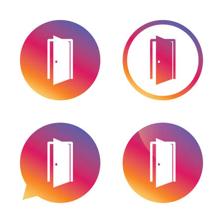 chat room: Door sign icon. Enter or exit symbol. Internal door. Gradient buttons with flat icon. Speech bubble sign. Vector Illustration