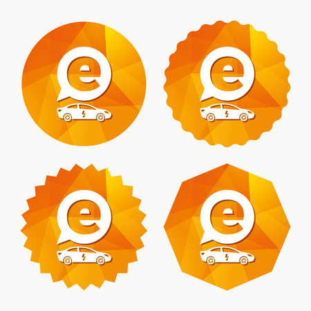 electric vehicle: Electric car sign icon. Sedan saloon symbol. Electric vehicle transport. Triangular low poly buttons with flat icon. Vector