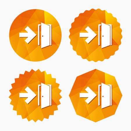 fire exit: Emergency exit sign icon. Door with right arrow symbol. Fire exit. Triangular low poly buttons with flat icon. Vector Illustration
