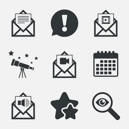 webmail: Mail envelope icons. Message document symbols. Video and Audio voice message signs. Attention, investigate and stars icons. Telescope and calendar signs. Vector