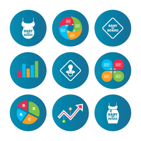 big belly: Business pie chart. Growth curve. Presentation buttons. Baby on board icons. Infant caution signs. Child pacifier nipple. Pregnant woman dress with big belly. Data analysis. Vector