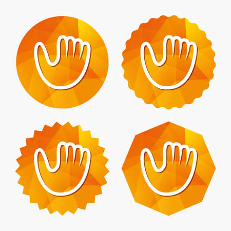 Baseball glove or mitt sign icon. Sport symbol. Triangular low poly buttons with flat icon. Vector