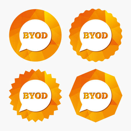 bring: BYOD sign icon. Bring your own device symbol. Speech bubble sign. Triangular low poly buttons with flat icon. Vector