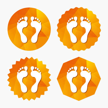 human footprint: Human footprint sign icon. Barefoot symbol. Foot silhouette. Triangular low poly buttons with flat icon. Vector