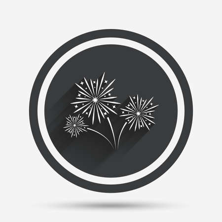 shadow show: Fireworks sign icon. Explosive pyrotechnic show symbol. Circle flat button with shadow and border. Vector Illustration