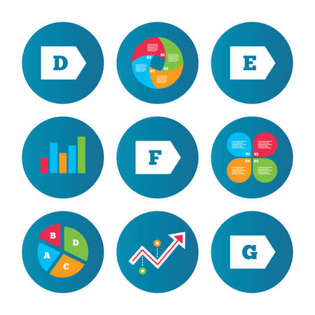 consumption: Business pie chart. Growth curve. Presentation buttons. Energy efficiency class icons. Energy consumption sign symbols. Class D, E, F and G. Data analysis. Vector