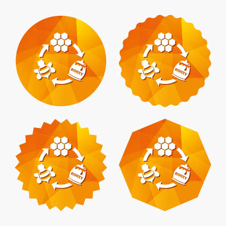 beeswax: Producing honey and beeswax sign icon. Honeycomb cells symbol. Honey in pot. Sweet natural food cycle in nature. Triangular low poly buttons with flat icon. Vector
