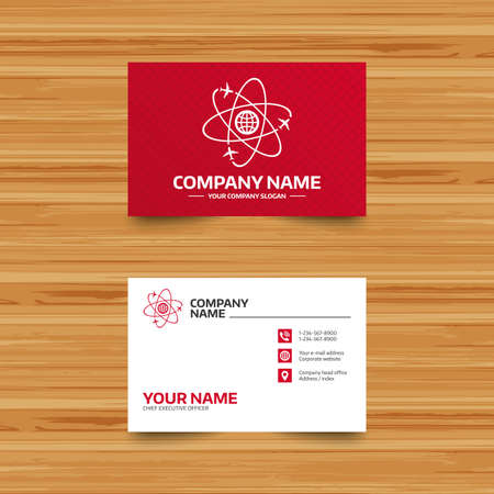 travel phone: Business card template. Globe sign icon. World logistics symbol. Worldwide travel flights. Phone, globe and pointer icons. Visiting card design. Vector