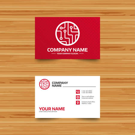 Business card template. Circuit board sign icon. Technology scheme circle symbol. Phone, globe and pointer icons. Visiting card design. Vector