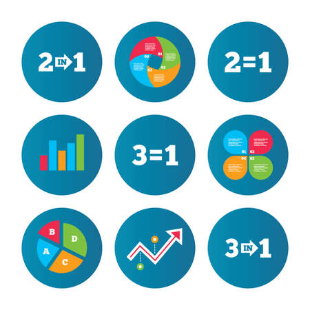equals: Business pie chart. Growth curve. Presentation buttons. Special offer icons. Take two pay for one sign symbols. Profit at saving. Data analysis. Vector Illustration