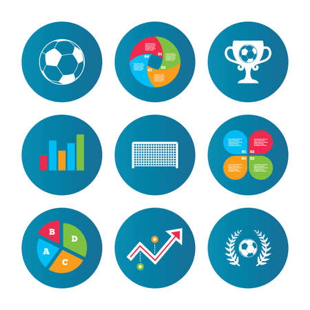 curve ball: Business pie chart. Growth curve. Presentation buttons. Football icons. Soccer ball sport sign. Goalkeeper gate symbol. Winner award cup and laurel wreath. Data analysis. Vector