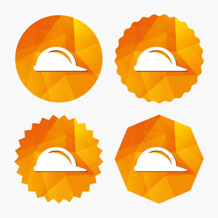 hard hat icon: Hard hat sign icon. Construction helmet symbol. Triangular low poly buttons with flat icon. Vector