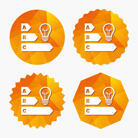 low energy: Energy efficiency sign icon. Idea lamp bulb symbol. Triangular low poly buttons with flat icon. Vector