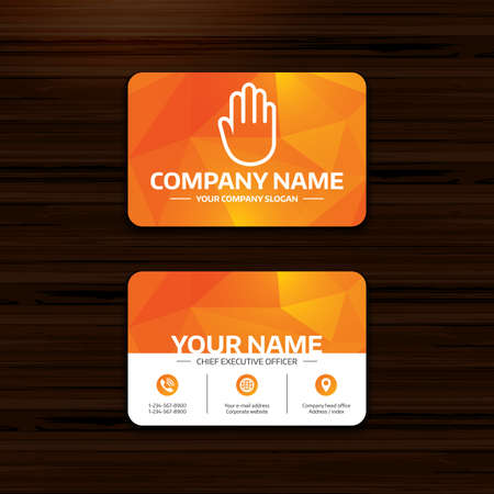 card stop: Business or visiting card template. Hand sign icon. No Entry or stop symbol. Give me five. Phone, globe and pointer icons. Vector