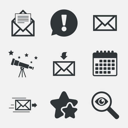 webmail: Mail envelope icons. Message document delivery symbol. Post office letter signs. Inbox and outbox message icons. Attention, investigate and stars icons. Telescope and calendar signs. Vector