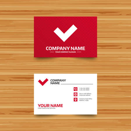 yes button: Business card template. Check sign icon. Yes button. Phone, globe and pointer icons. Visiting card design. Vector