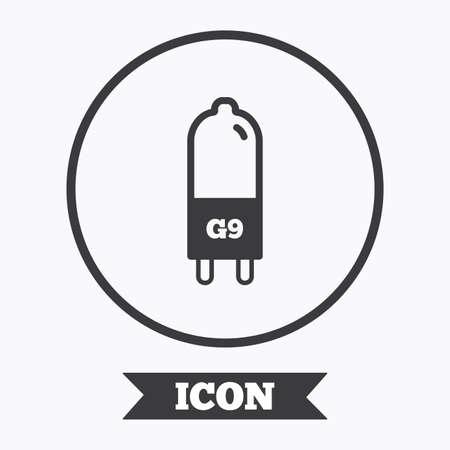 enchufe de luz: Light bulb icon. Lamp G9 socket symbol. Led or halogen light sign. Graphic design element. Flat symbol in circle button. Vector