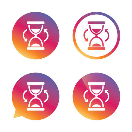 sand timer: Hourglass sign icon. Sand timer symbol. Gradient buttons with flat icon. Speech bubble sign. Vector