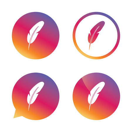 bubble pen: Feather sign icon. Retro pen symbol. Light weight symbol. Gradient buttons with flat icon. Speech bubble sign. Vector