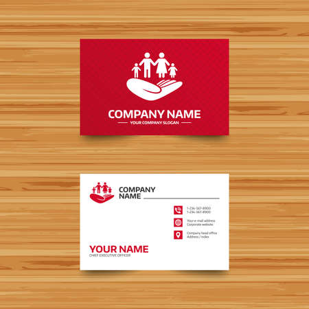 child holding sign: Business card template. Family life insurance sign. Hand holds human group symbol. Health insurance. Phone, globe and pointer icons. Visiting card design. Vector