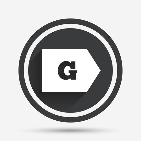 energy consumption: Energy efficiency class G sign icon. Energy consumption symbol. Circle flat button with shadow and border. Vector Illustration