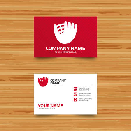 mitt: Business card template. Baseball glove or mitt sign icon. Sport symbol. Phone, globe and pointer icons. Visiting card design. Vector Illustration