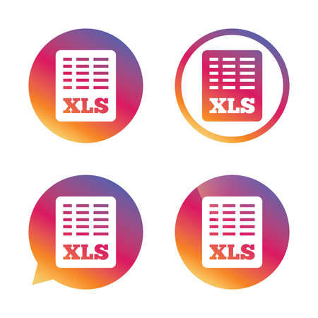 xls: Excel file document icon. Download xls button. XLS file symbol. Gradient buttons with flat icon. Speech bubble sign. Vector Illustration