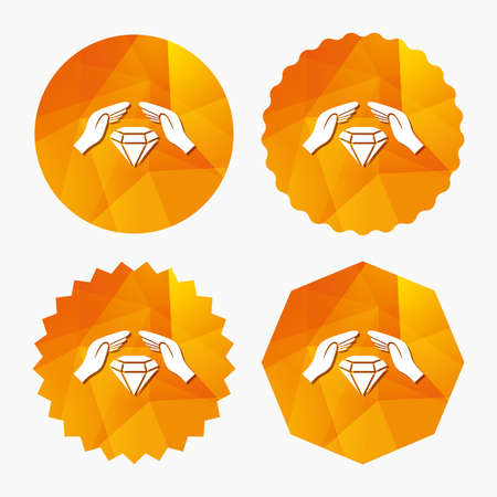 brilliants: Jewelry insurance sign icon. Hands protect cover diamonds symbol. Brilliants insurance. Triangular low poly buttons with flat icon. Vector
