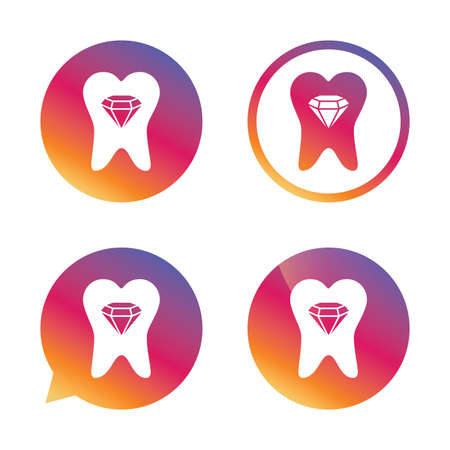 prestige: Tooth crystal icon. Tooth jewellery sign. Dental prestige symbol. Gradient buttons with flat icon. Speech bubble sign. Vector