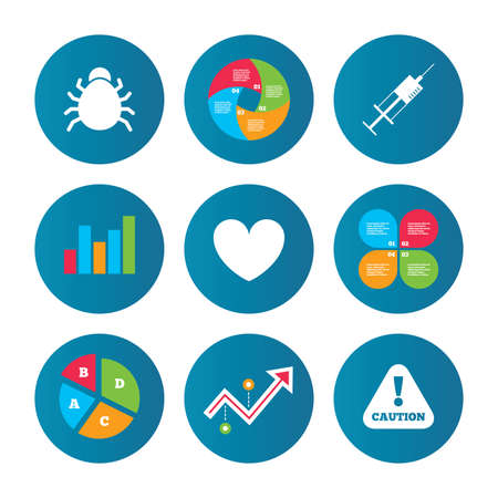 acarus: Business pie chart. Growth curve. Presentation buttons. Bug and vaccine syringe injection icons. Heart and caution with exclamation sign symbols. Data analysis. Vector