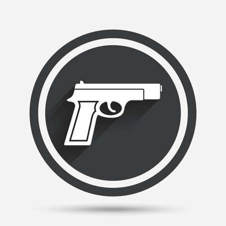 seal gun: Gun sign icon. Firearms weapon symbol. Circle flat button with shadow and border. Vector