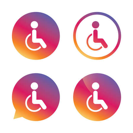 invalid: Disabled sign icon. Human on wheelchair symbol. Handicapped invalid sign. Gradient buttons with flat icon. Speech bubble sign. Vector