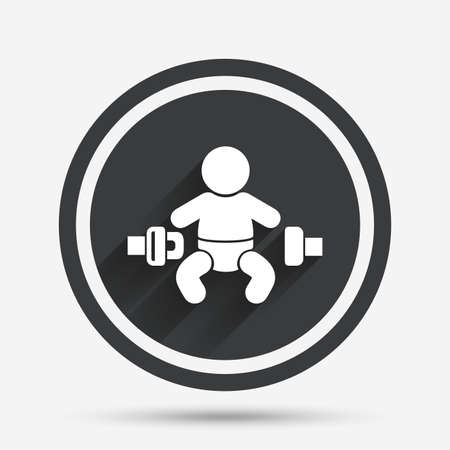 child safety: Fasten seat belt sign icon. Child safety in accident. Circle flat button with shadow and border. Vector