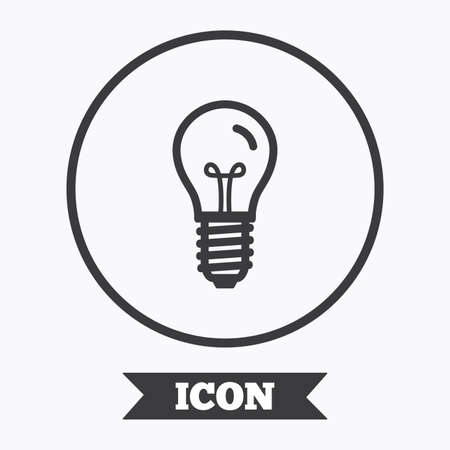 enchufe de luz: Light bulb icon. Lamp E14 screw socket symbol. Illumination sign. Graphic design element. Flat symbol in circle button. Vector