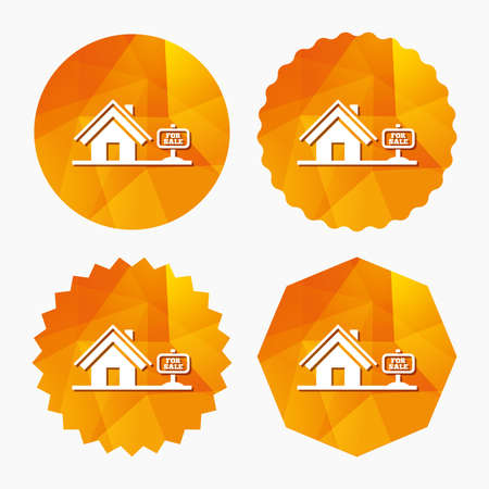 broker: Home sign icon. House for sale. Broker symbol. Triangular low poly buttons with flat icon. Vector