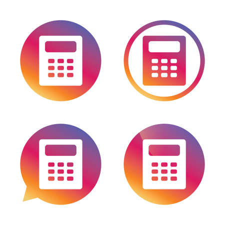 calc: Calculator sign icon. Bookkeeping symbol. Gradient buttons with flat icon. Speech bubble sign. Vector