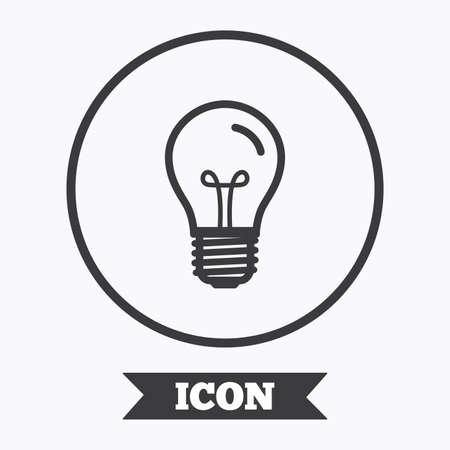enchufe de luz: Light bulb icon. Lamp E27 screw socket symbol. Illumination sign. Graphic design element. Flat symbol in circle button. Vector Vectores