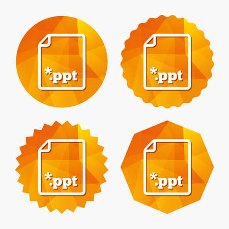 ppt: File presentation icon. Download PPT button. PPT file extension symbol. Triangular low poly buttons with flat icon. Vector